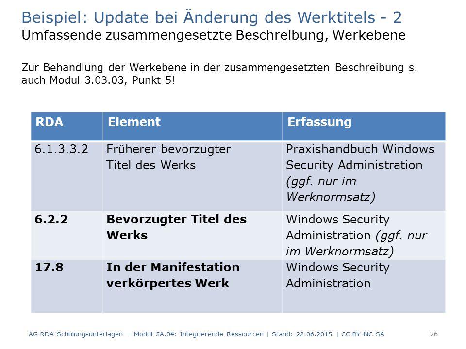 26 RDAElementErfassung 6.1.3.3.2 Früherer bevorzugter Titel des Werks Praxishandbuch Windows Security Administration (ggf.