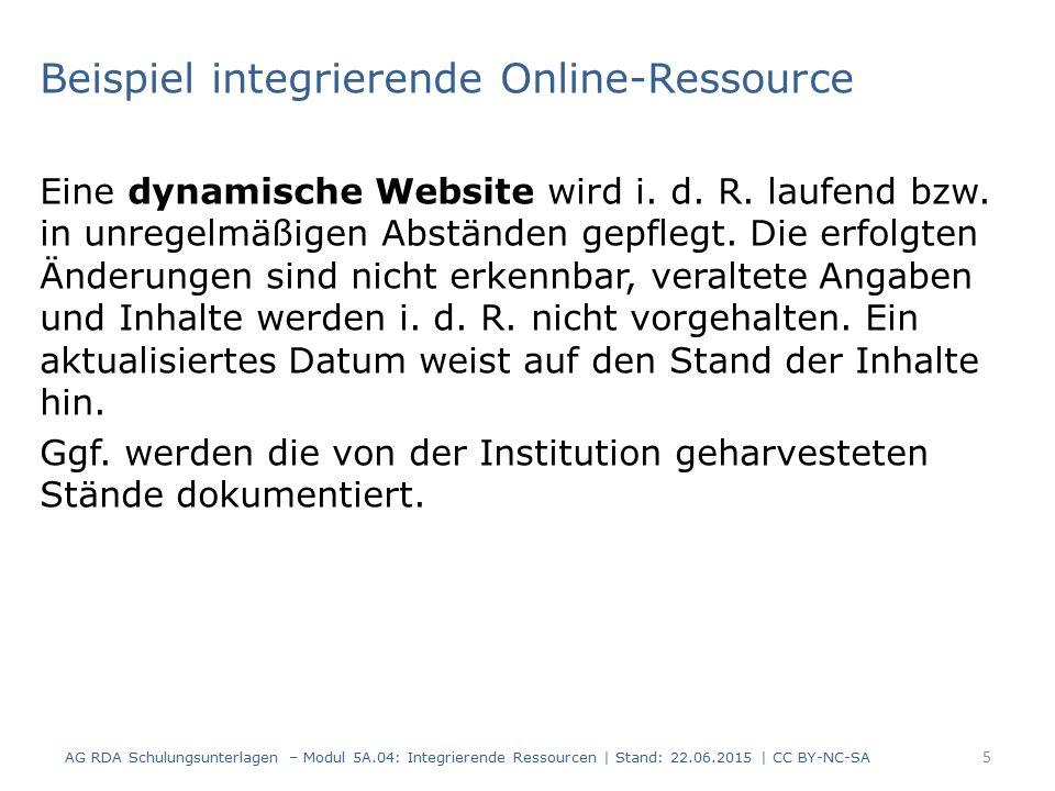 Beispiel integrierende Online-Ressource Eine dynamische Website wird i.