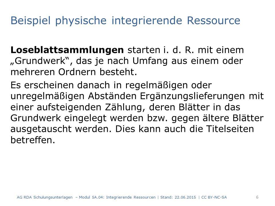 Beispiel physische integrierende Ressource Loseblattsammlungen starten i.