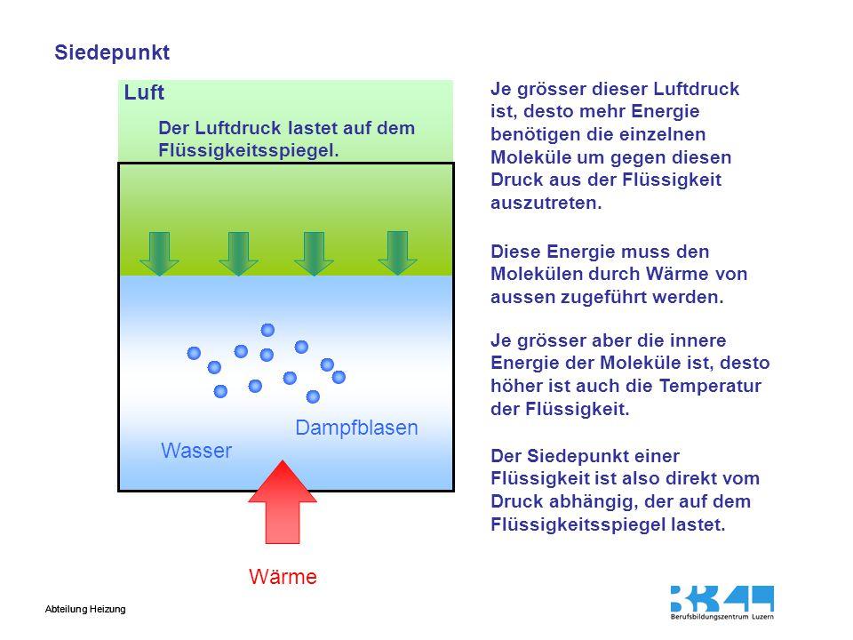 Abteilung Heizung Luft Wasser Dampfblasen Der Luftdruck lastet auf dem Flüssigkeitsspiegel. Je grösser dieser Luftdruck ist, desto mehr Energie benöti