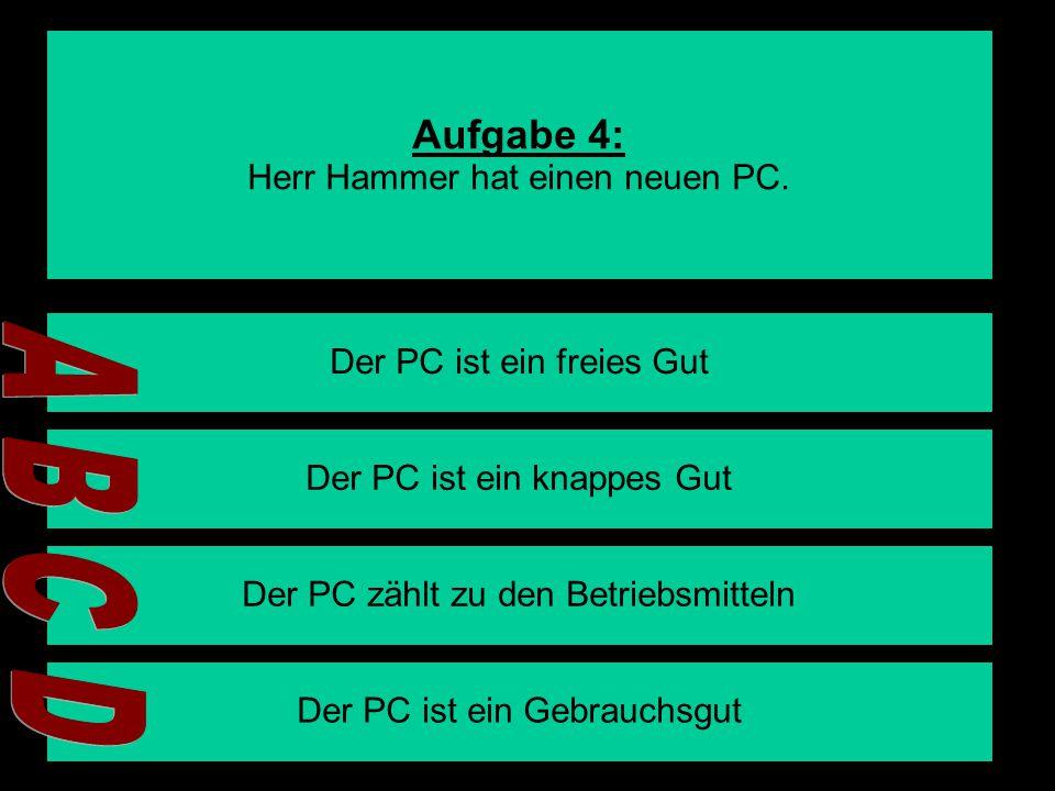 Aufgabe 4: Herr Hammer hat einen neuen PC.