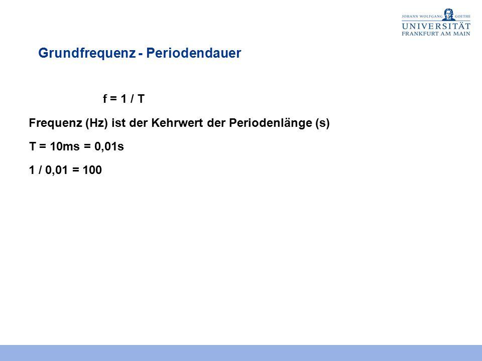 Grundfrequenz - Periodendauer f = 1 / T Frequenz (Hz) ist der Kehrwert der Periodenlänge (s) T = 10ms = 0,01s 1 / 0,01 = 100