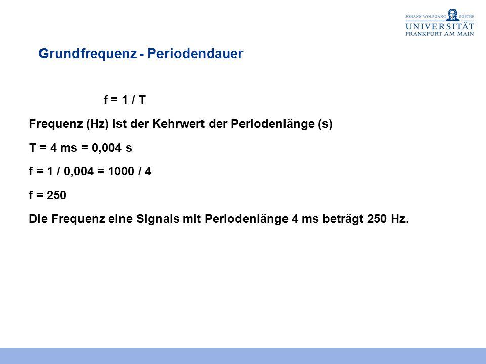 Grundfrequenz - Periodendauer f = 1 / T Frequenz (Hz) ist der Kehrwert der Periodenlänge (s) T = 4 ms = 0,004 s f = 1 / 0,004 = 1000 / 4 f = 250 Die F