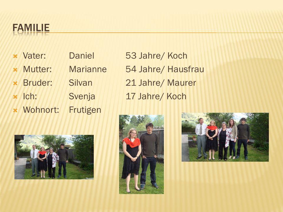  Vater:Daniel 53 Jahre/ Koch  Mutter:Marianne 54 Jahre/ Hausfrau  Bruder:Silvan 21 Jahre/ Maurer  Ich:Svenja17 Jahre/ Koch  Wohnort:Frutigen
