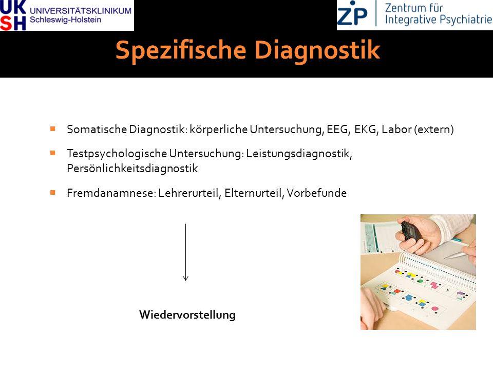 DGKJP Kongress 2013, Rostock Spezifische Diagnostik  Somatische Diagnostik: körperliche Untersuchung, EEG, EKG, Labor (extern)  Testpsychologische U
