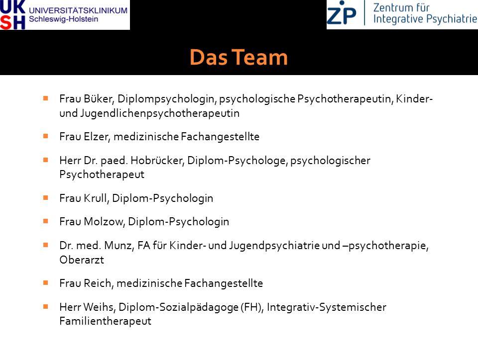 DGKJP Kongress 2013, Rostock Das Team  Frau Büker, Diplompsychologin, psychologische Psychotherapeutin, Kinder- und Jugendlichenpsychotherapeutin  F