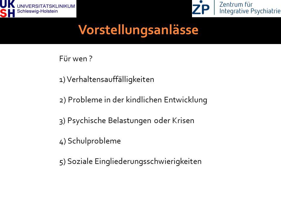 DGKJP Kongress 2013, Rostock Vorstellungsanlässe Für wen ? 1) Verhaltensauffälligkeiten 2) Probleme in der kindlichen Entwicklung 3) Psychische Belast