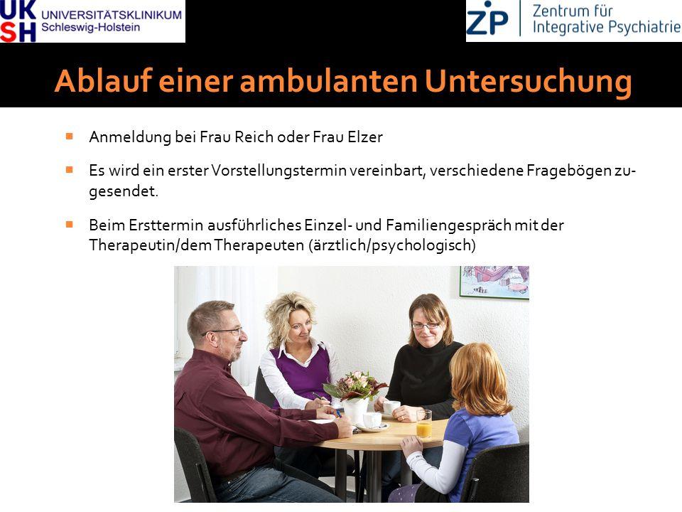 DGKJP Kongress 2013, Rostock Ablauf einer ambulanten Untersuchung  Anmeldung bei Frau Reich oder Frau Elzer  Es wird ein erster Vorstellungstermin vereinbart, verschiedene Fragebögen zu- gesendet.