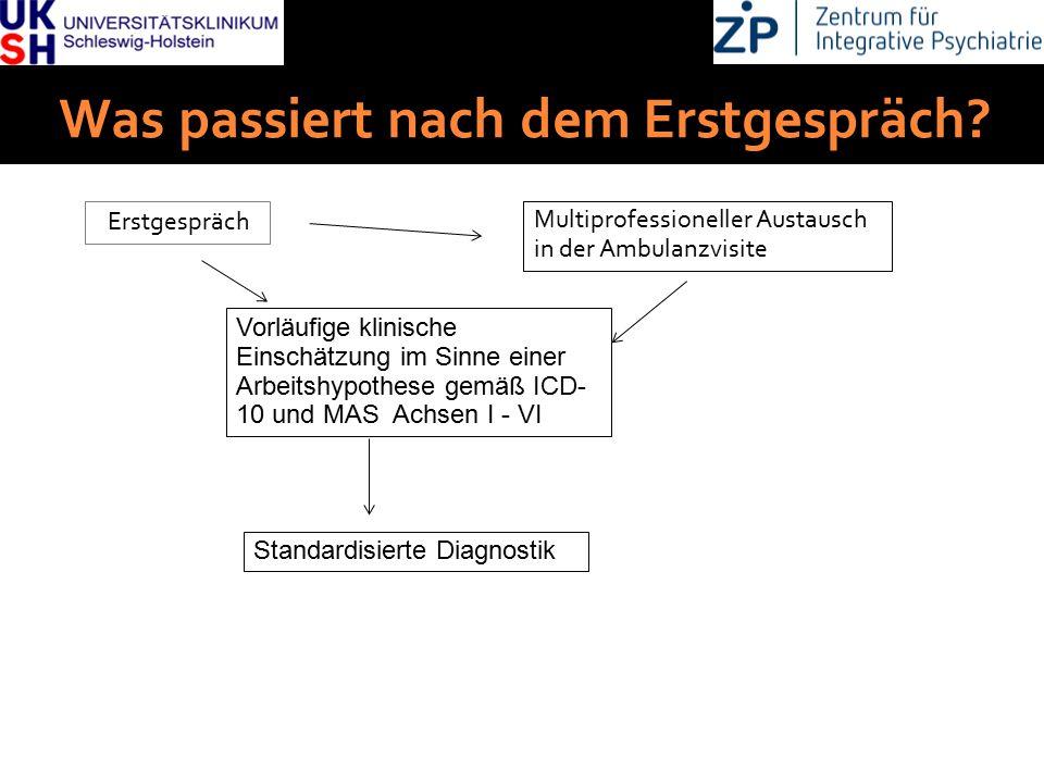 DGKJP Kongress 2013, Rostock Was passiert nach dem Erstgespräch? Erstgespräch Multiprofessioneller Austausch in der Ambulanzvisite Vorläufige klinisch