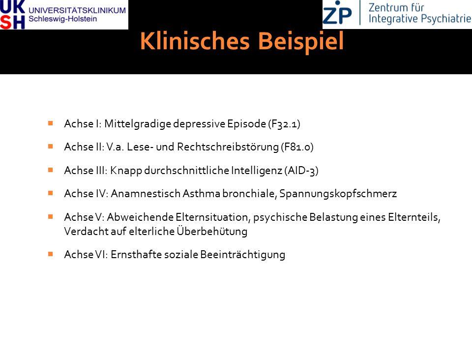 DGKJP Kongress 2013, Rostock Klinisches Beispiel  Achse I: Mittelgradige depressive Episode (F32.1)  Achse II: V.a. Lese- und Rechtschreibstörung (F