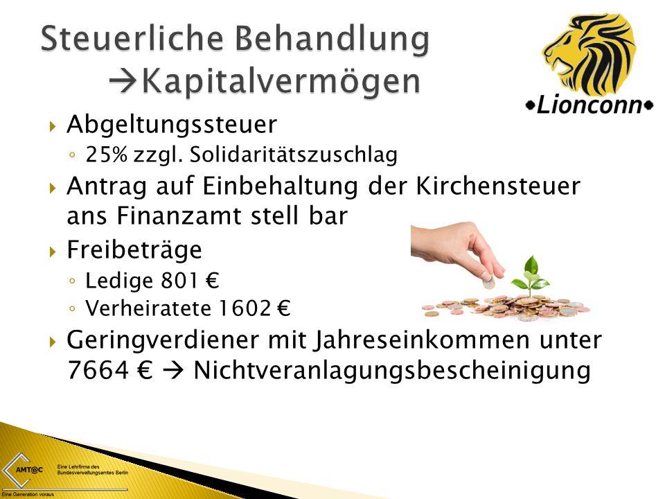  Gewerbesteuer  Gewerbeertrag wird besteuert  Zählt zu Gemeinde – und Objektsteuern  Unterschiedlich von Stadt zu Stadt ◦ Freibetrag in Berlin 24.500 €