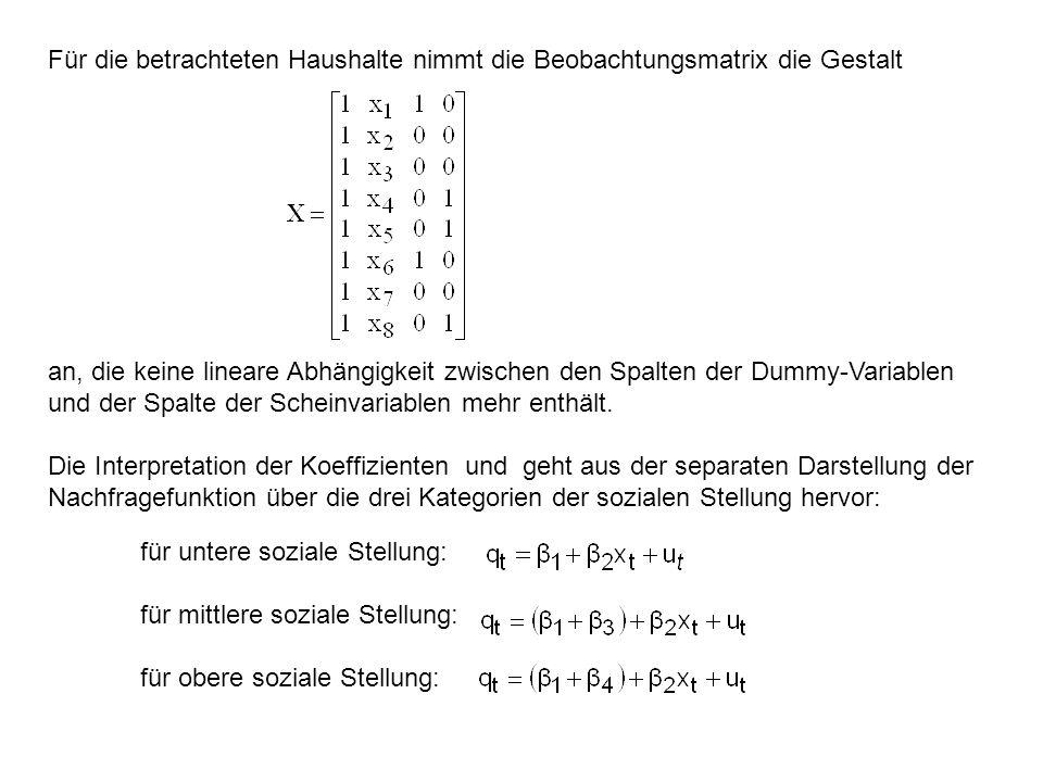 Für die betrachteten Haushalte nimmt die Beobachtungsmatrix die Gestalt an, die keine lineare Abhängigkeit zwischen den Spalten der Dummy-Variablen un