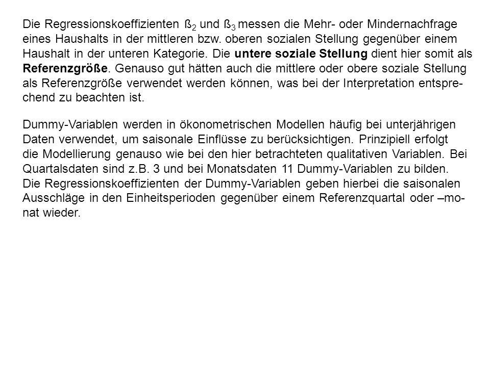 Die Regressionskoeffizienten ß 2 und ß 3 messen die Mehr- oder Mindernachfrage eines Haushalts in der mittleren bzw. oberen sozialen Stellung gegenübe