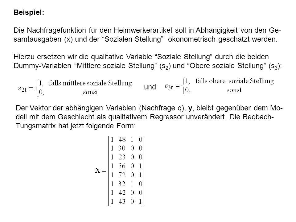 """Beispiel: Die Nachfragefunktion für den Heimwerkerartikel soll in Abhängigkeit von den Ge- samtausgaben (x) und der """"Sozialen Stellung"""" ökonometrisch"""