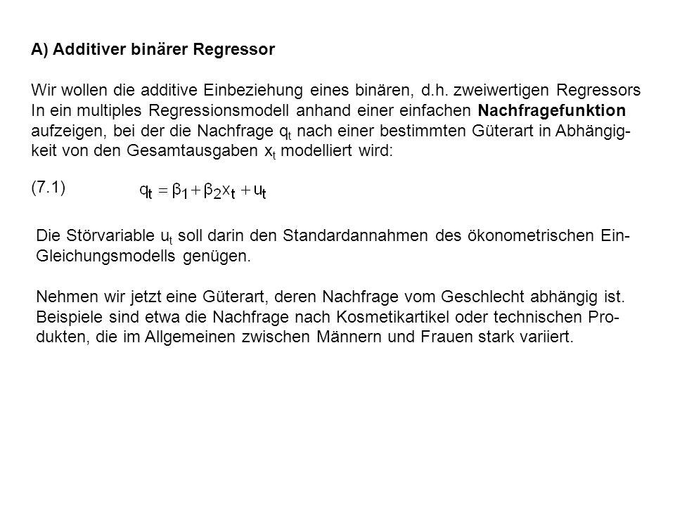 A) Additiver binärer Regressor Wir wollen die additive Einbeziehung eines binären, d.h. zweiwertigen Regressors In ein multiples Regressionsmodell anh