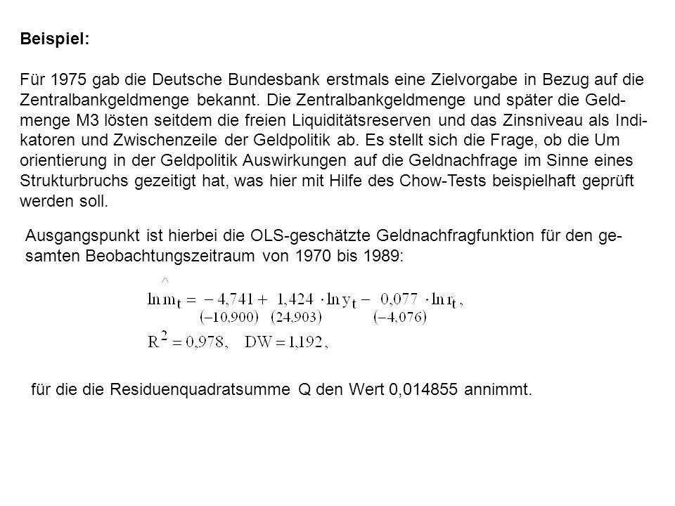 Beispiel: Für 1975 gab die Deutsche Bundesbank erstmals eine Zielvorgabe in Bezug auf die Zentralbankgeldmenge bekannt. Die Zentralbankgeldmenge und s