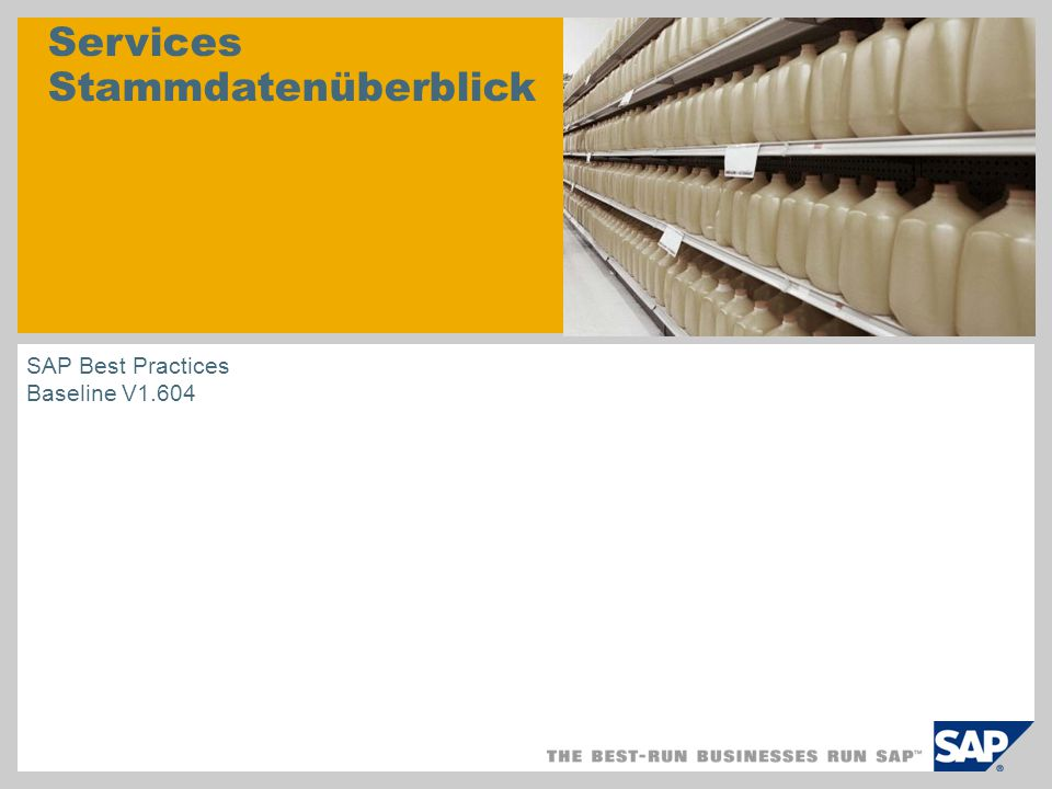 Services Stammdatenüberblick SAP Best Practices Baseline V1.604
