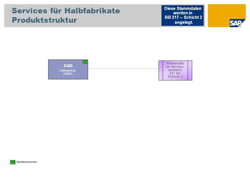 Services für Halbfabrikate Produktstruktur S300 Halbfabrikat, (SEMI) Diese Stammdaten werden in BB 217 – Schicht 2 angelegt. Verwendet im Service- sze