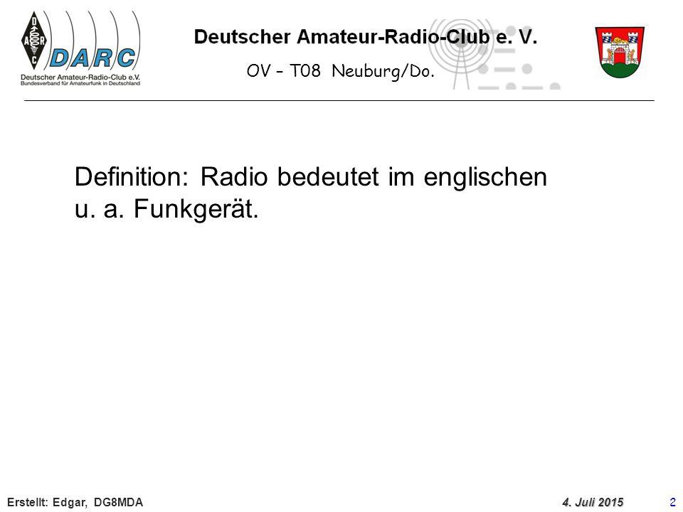 OV – T08 Neuburg/Do.Erstellt: Edgar, DG8MDA 3 4.