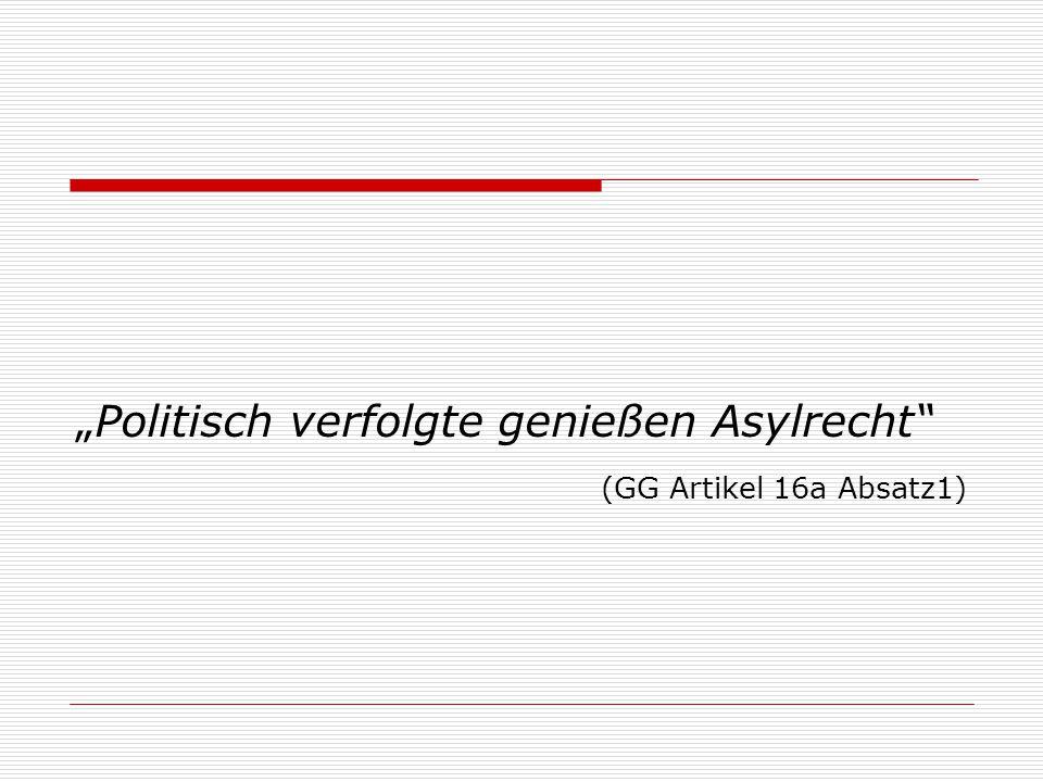 """Politisch verfolgte genießen Asylrecht"" (GG Artikel 16a Absatz1)"