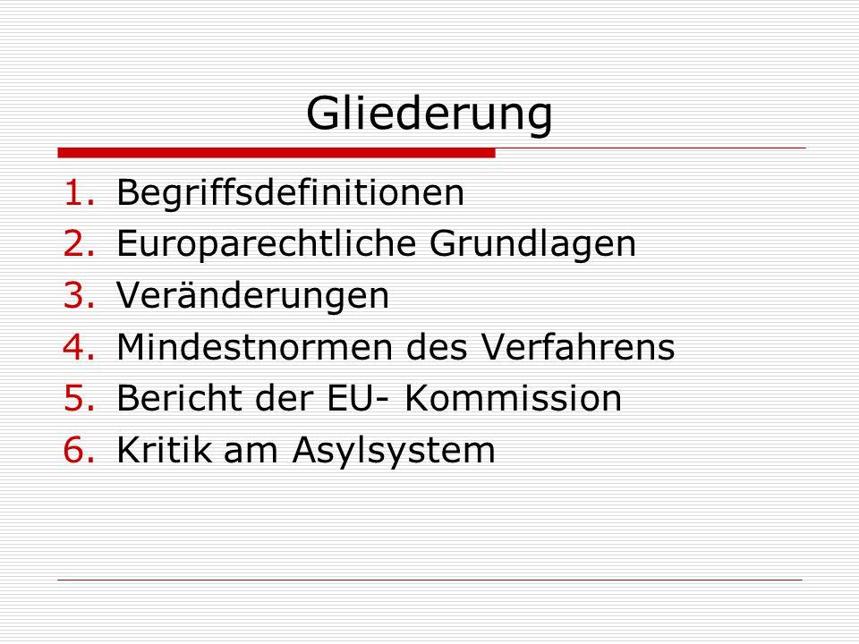 Gliederung 1.Begriffsdefinitionen 2.Europarechtliche Grundlagen 3.Veränderungen 4.Mindestnormen des Verfahrens 5.Bericht der EU- Kommission 6.Kritik a