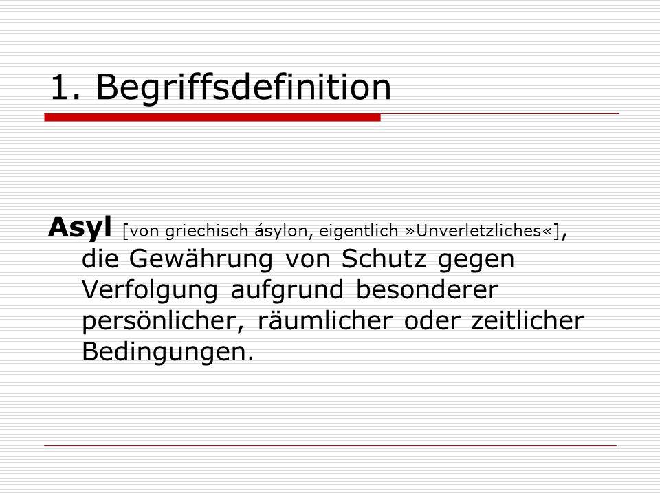 1. Begriffsdefinition Asyl [von griechisch ásylon, eigentlich »Unverletzliches«], die Gewährung von Schutz gegen Verfolgung aufgrund besonderer persön