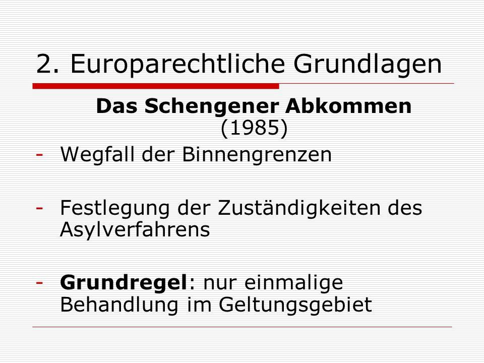 2. Europarechtliche Grundlagen Das Schengener Abkommen (1985) -Wegfall der Binnengrenzen -Festlegung der Zuständigkeiten des Asylverfahrens -Grundrege