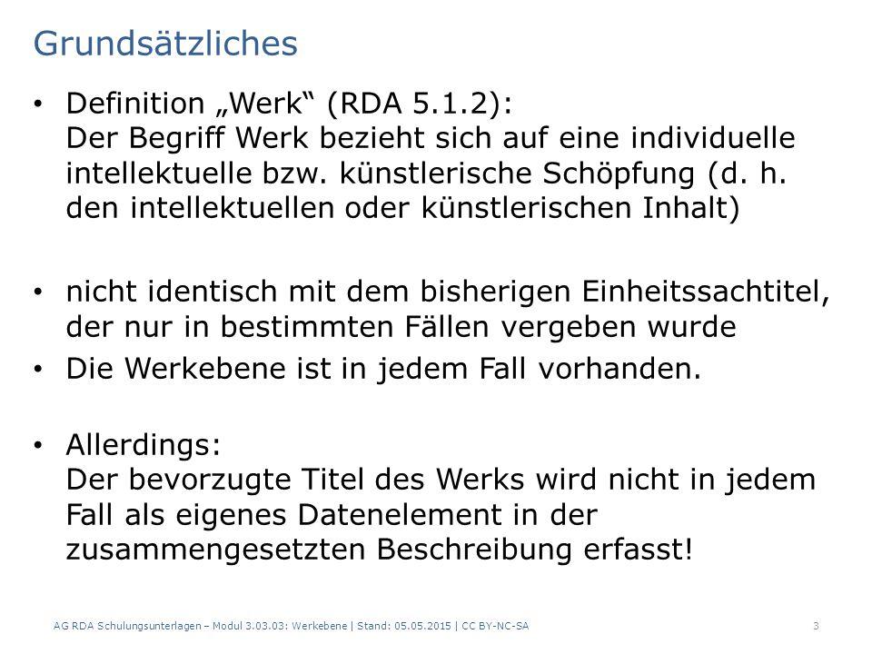 Merkmale zur Unterscheidung -2- Beispiele: AG RDA Schulungsunterlagen – Modul 3.03.03: Werkebene | Stand: 05.05.2015 | CC BY-NC-SA 24 RDAElementErfassung 6.2.2 Bevorzugter Titel des Werks King Kong 6.3.1Form des WerksFilm 6.4.1Datum des Werks1933 6.27.1 Normierter Sucheinstieg, der ein Werk repräsentiert King Kong (Film : 1933) RDAElementErfassung 6.2.2 Bevorzugter Titel des Werks King Kong 6.3.1Form des WerksFilm 6.4.1Datum des Werks1976 6.27.1 Normierter Sucheinstieg, der ein Werk repräsentiert King Kong (Film : 1976)
