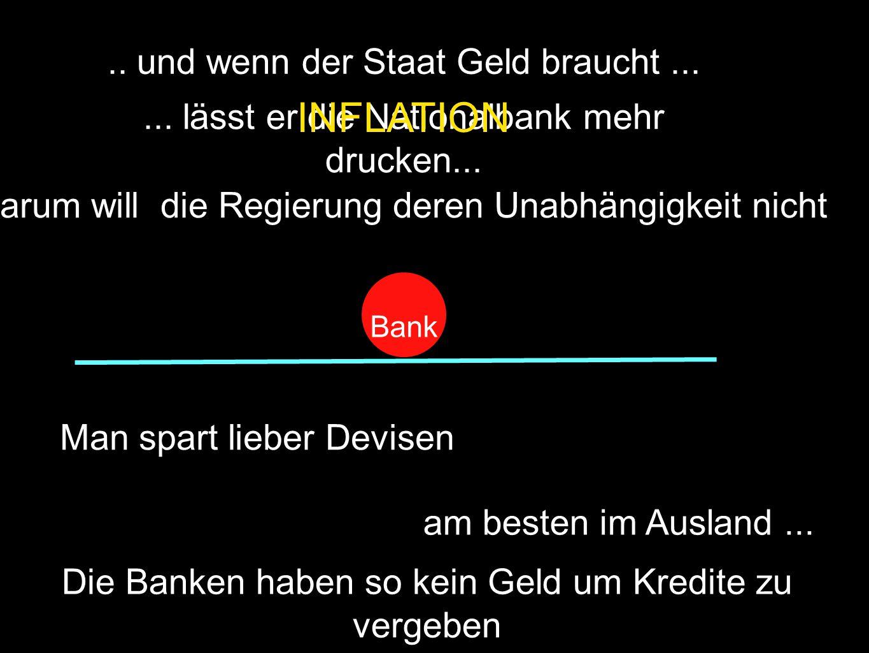 Bank.. und wenn der Staat Geld braucht...... lässt er die Nationalbank mehr drucken...