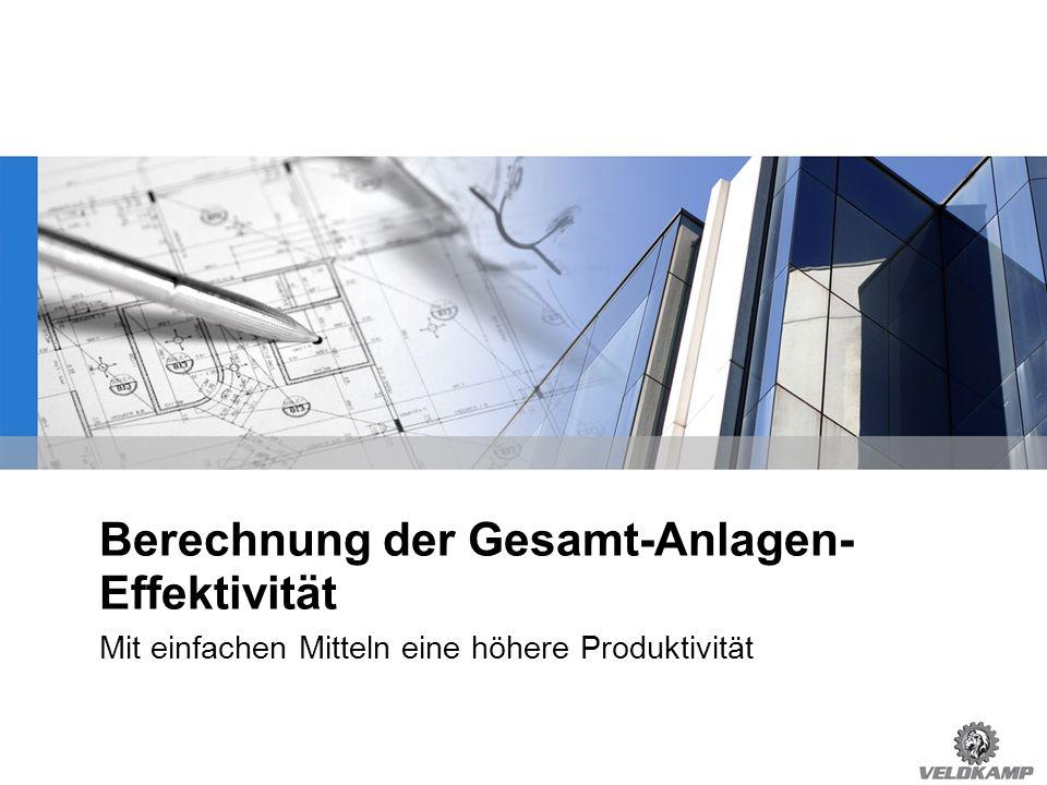 ©Heinz-Joachim Schulte | Alle Rechte vorbehalten OEE = Overall Equipment Effectiveness GAE = Gesamt-Anlagen-Effektivität Operationelle Produktionszeit Stillstand Netto Produktionszeit Geschw.