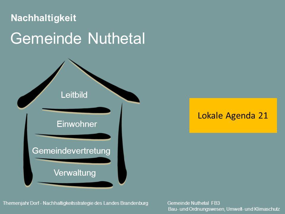 Nachhaltigkeit Gemeinde Nuthetal Lokale Agenda 21 Verwaltung Gemeindevertretung Einwohner Leitbild Themenjahr Dorf - Nachhaltigkeitsstrategie des Land