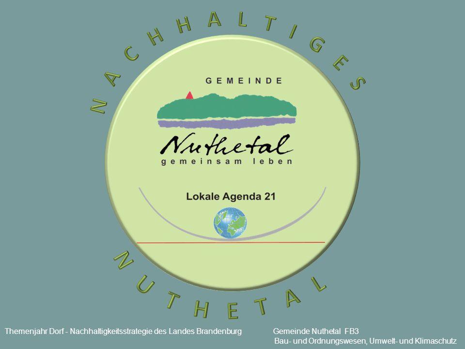 Themenjahr Dorf - Nachhaltigkeitsstrategie des Landes Brandenburg Gemeinde Nuthetal FB3 Bau- und Ordnungswesen, Umwelt- und Klimaschutz