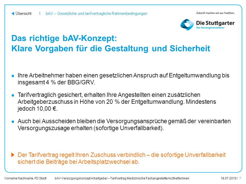 bAV-Versorgungskonzept Arbeitgeber – Tarifvertrag Medizinische Fachangestellte/Arzthelferinnen18.07.2015 / 7 Vorname Nachname, FD Stadt Übersicht Das