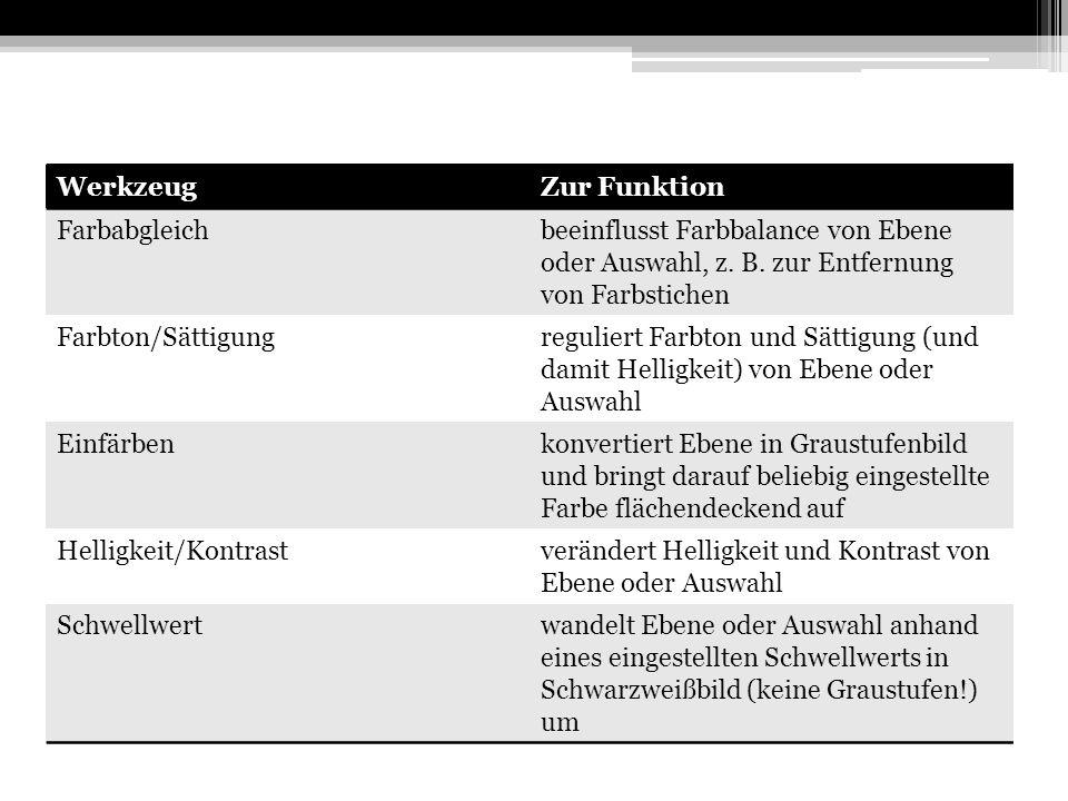 WerkzeugZur Funktion Farbabgleichbeeinflusst Farbbalance von Ebene oder Auswahl, z.