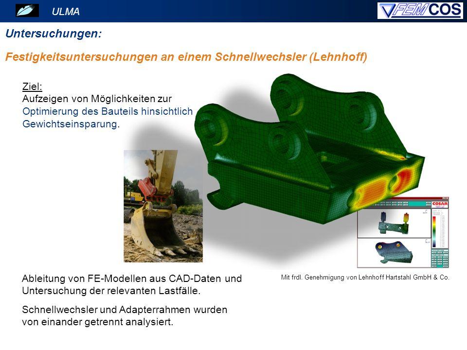 ULMA Untersuchungen: Mit frdl. Genehmigung von Lehnhoff Hartstahl GmbH & Co. Ableitung von FE-Modellen aus CAD-Daten und Untersuchung der relevanten L