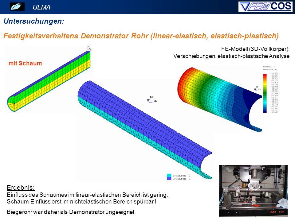 ULMA Untersuchungen: mit Schaum Festigkeitsverhaltens Demonstrator Rohr (linear-elastisch, elastisch-plastisch) Ergebnis: Einfluss des Schaumes im lin