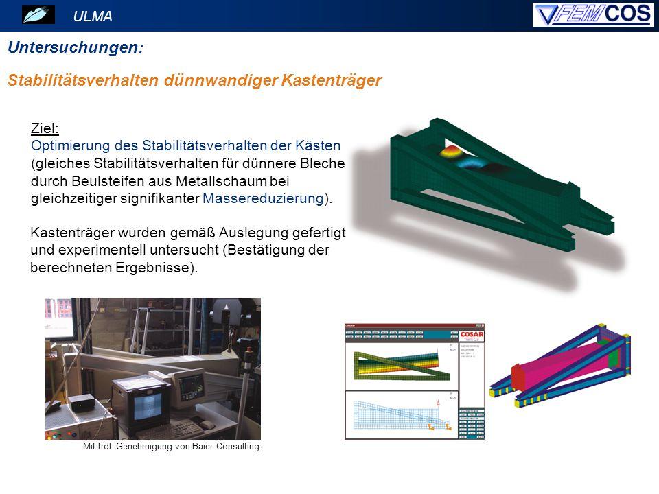 ULMA Untersuchungen: Mit frdl. Genehmigung von Baier Consulting. Ziel: Optimierung des Stabilitätsverhalten der Kästen (gleiches Stabilitätsverhalten