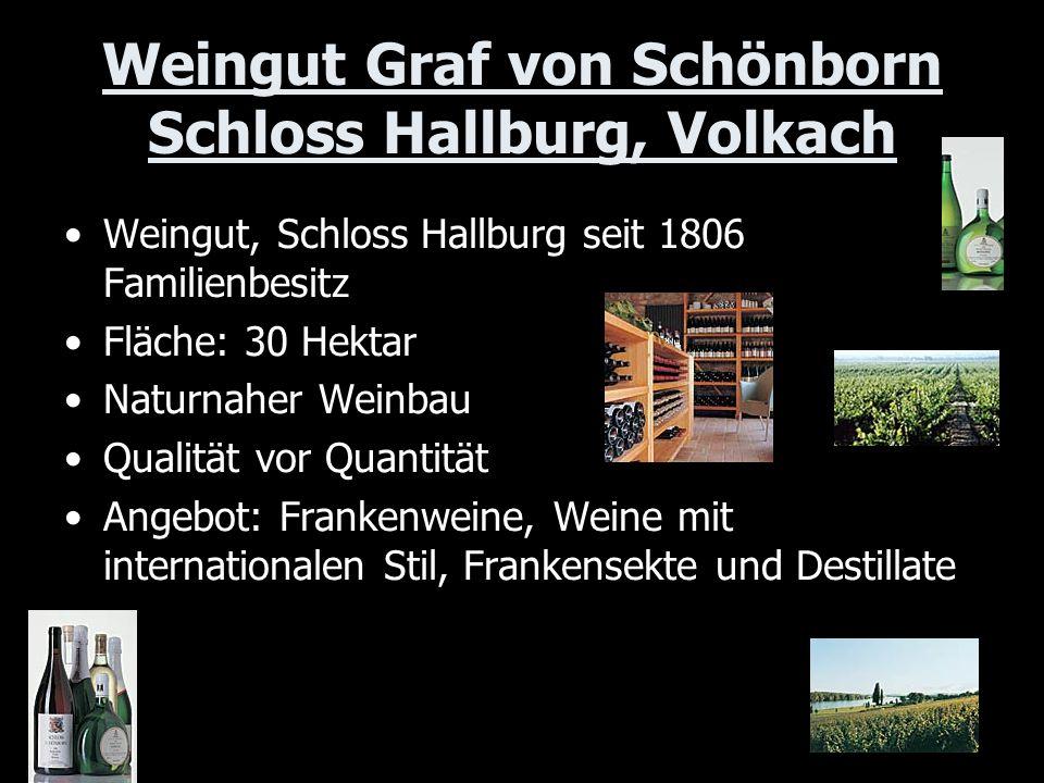 Weingut Graf von Schönborn Schloss Hallburg, Volkach Weingut, Schloss Hallburg seit 1806 Familienbesitz Fläche: 30 Hektar Naturnaher Weinbau Qualität