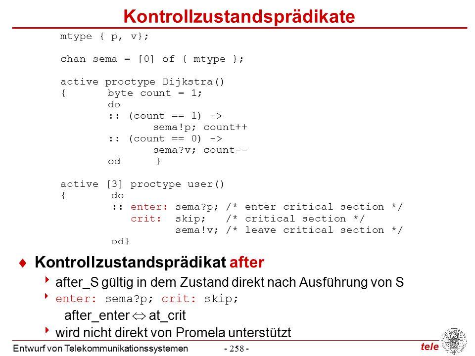 tele Entwurf von Telekommunikationssystemen- 258 - Kontrollzustandsprädikate  Kontrollzustandsprädikat after  after_S gültig in dem Zustand direkt nach Ausführung von S  enter: sema p; crit: skip; after_enter  at_crit  wird nicht direkt von Promela unterstützt mtype { p, v}; chan sema = [0] of { mtype }; active proctype Dijkstra() {byte count = 1; do :: (count == 1) -> sema!p; count++ :: (count == 0) -> sema v; count-- od} active [3] proctype user() { do :: enter: sema p; /* enter critical section */ crit: skip; /* critical section */ sema!v; /* leave critical section */ od}