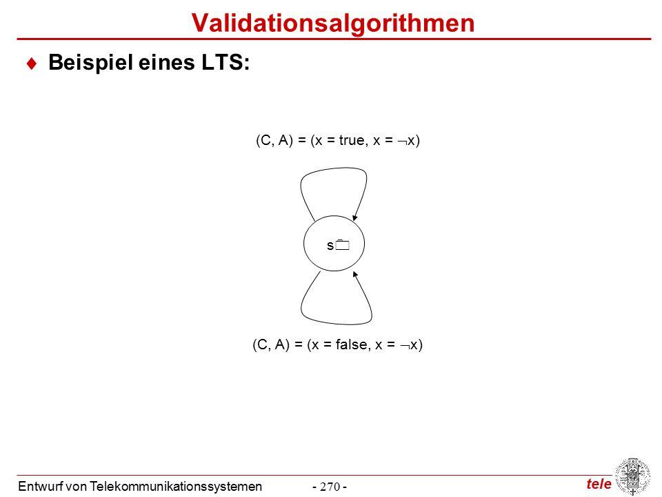 tele Entwurf von Telekommunikationssystemen- 270 - (C, A) = (x = true, x =  x) (C, A) = (x = false, x =  x) ss Validationsalgorithmen  Beispiel eines LTS: