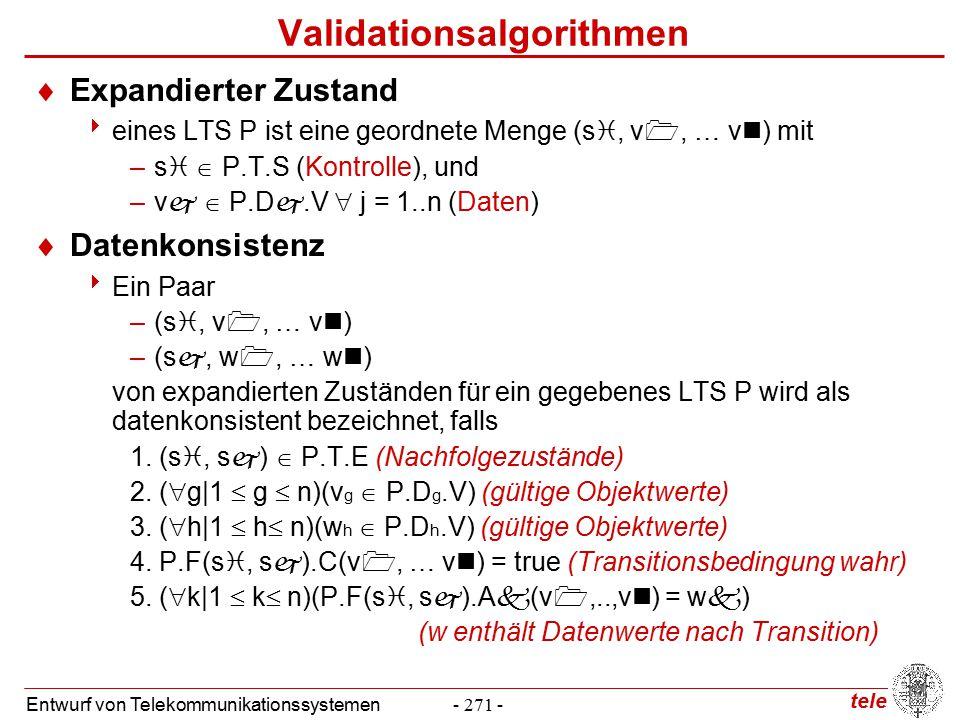 tele Entwurf von Telekommunikationssystemen- 271 - Validationsalgorithmen  Expandierter Zustand  eines LTS P ist eine geordnete Menge (s , v , … v ) mit –s   P.T.S (Kontrolle), und –v   P.D .V  j = 1..n (Daten)  Datenkonsistenz  Ein Paar –(s , v , … v ) –(s , w , … w ) von expandierten Zuständen für ein gegebenes LTS P wird als datenkonsistent bezeichnet, falls 1.