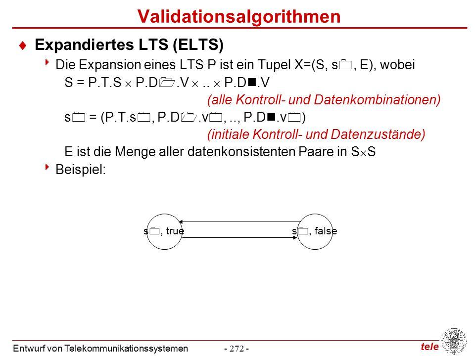 tele Entwurf von Telekommunikationssystemen- 272 - Validationsalgorithmen  Expandiertes LTS (ELTS)  Die Expansion eines LTS P ist ein Tupel X=(S, s , E), wobei S = P.T.S  P.D .V ..