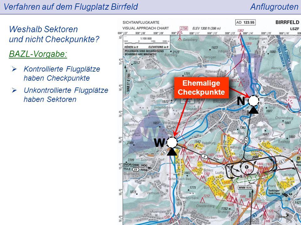 Verfahren auf dem Flugplatz BirrfeldAnflugrouten Weshalb Sektoren und nicht Checkpunkte.