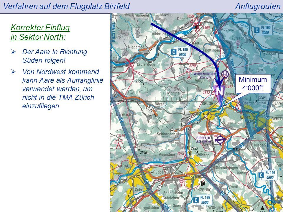 Verfahren auf dem Flugplatz BirrfeldAnflugrouten  Der Aare in Richtung Süden folgen.