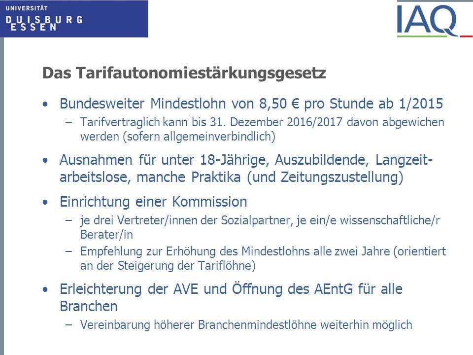 Das Tarifautonomiestärkungsgesetz Bundesweiter Mindestlohn von 8,50 € pro Stunde ab 1/2015 –Tarifvertraglich kann bis 31.