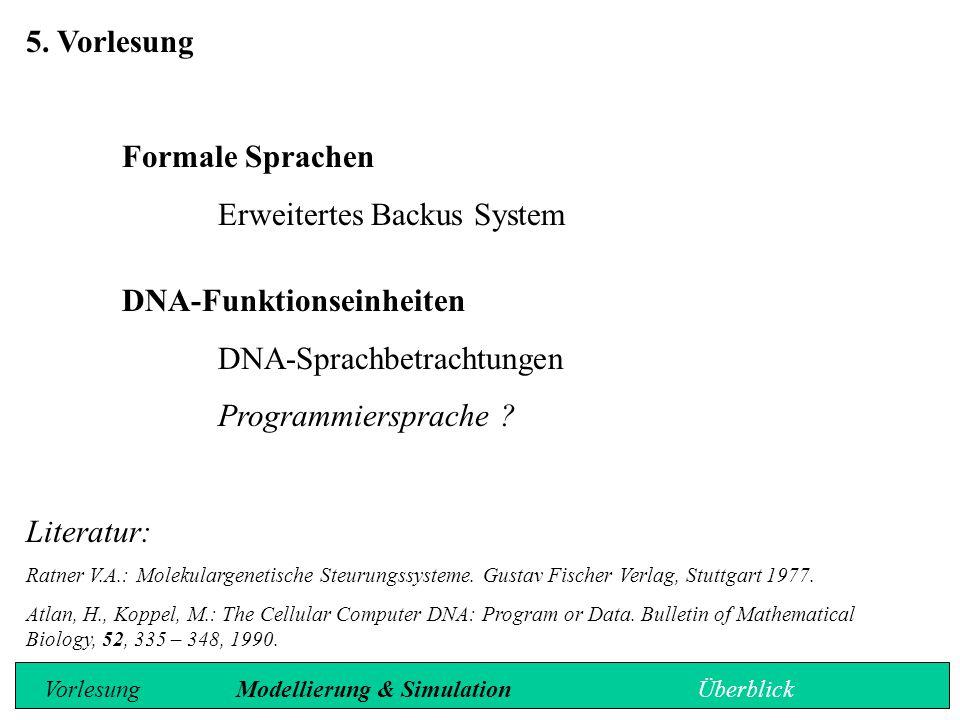 Erweitertes Backus-System Spezifikation der Basensequenz einer DNA Funktionseinheit erfordert die Berücksichtigung der folgenden Eigenarten: 1.Funktionseinheiten sind durch eine spezifische Länge charakterisiert (z.
