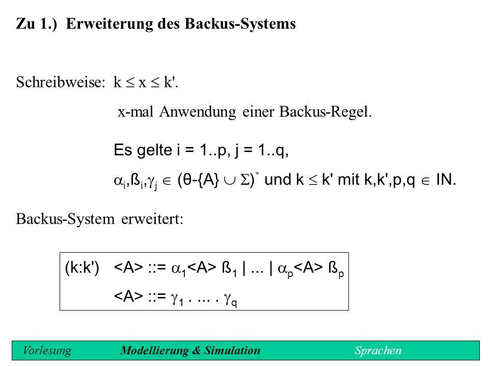 Semantik: - ::= | |...| wobei für i = k..k neue Variable sind und - ::=  1 ß 1 |...