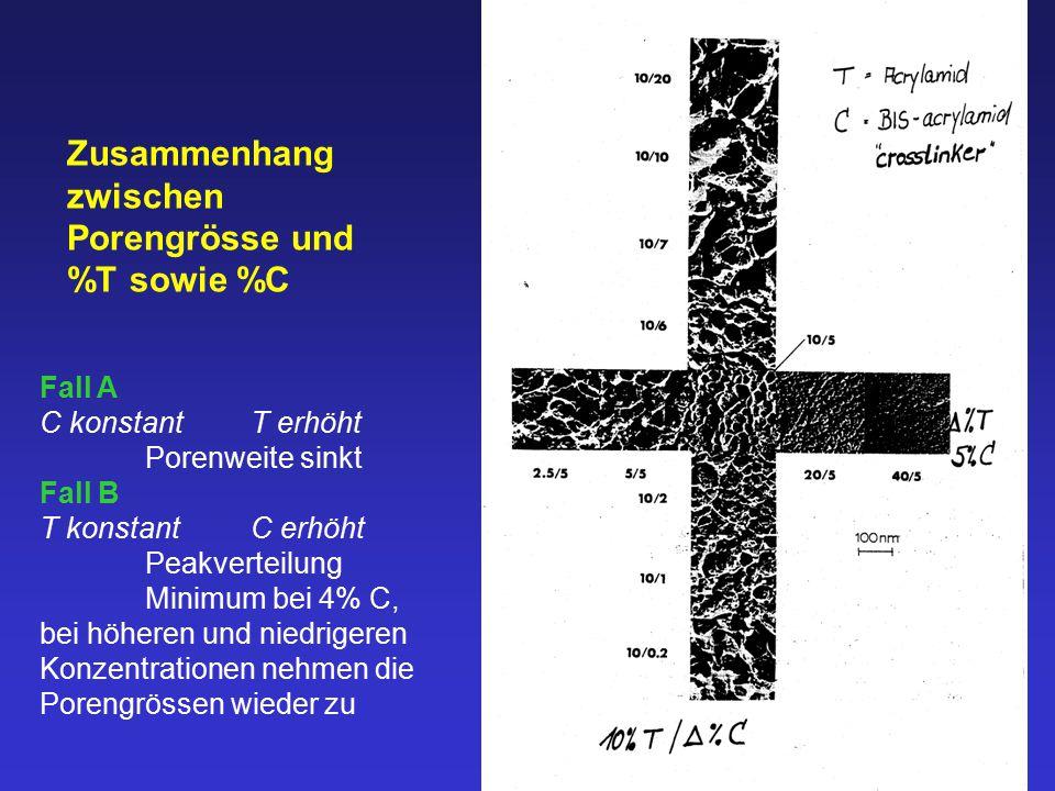 Zusammenhang zwischen Porengrösse und %T sowie %C Fall A C konstantT erhöht Porenweite sinkt Fall B T konstantC erhöht Peakverteilung Minimum bei 4% C, bei höheren und niedrigeren Konzentrationen nehmen die Porengrössen wieder zu