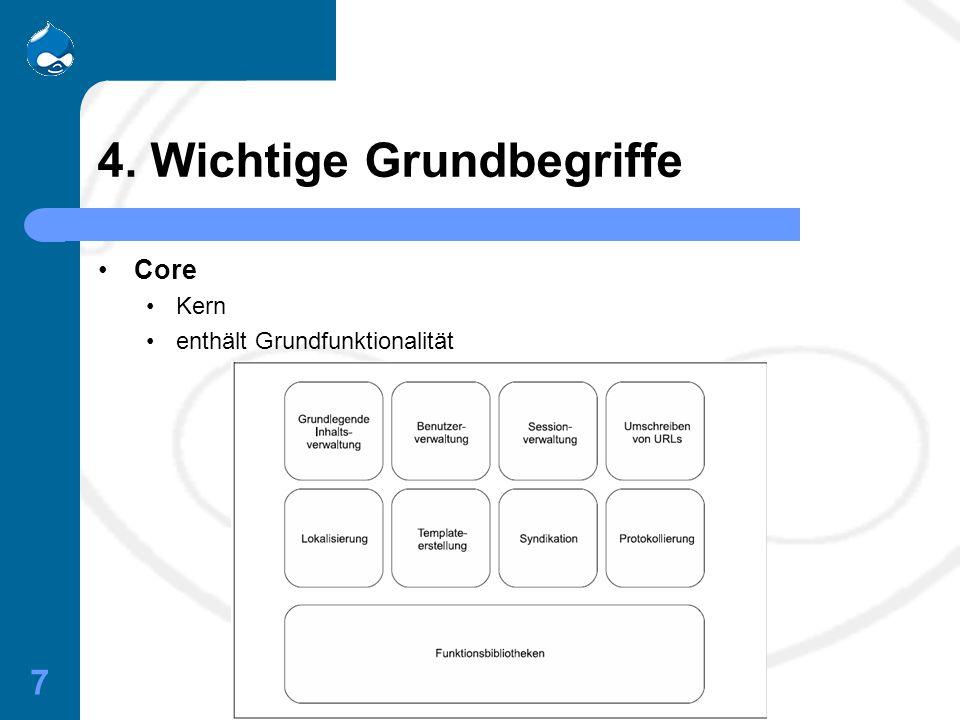 7 4. Wichtige Grundbegriffe Core Kern enthält Grundfunktionalität