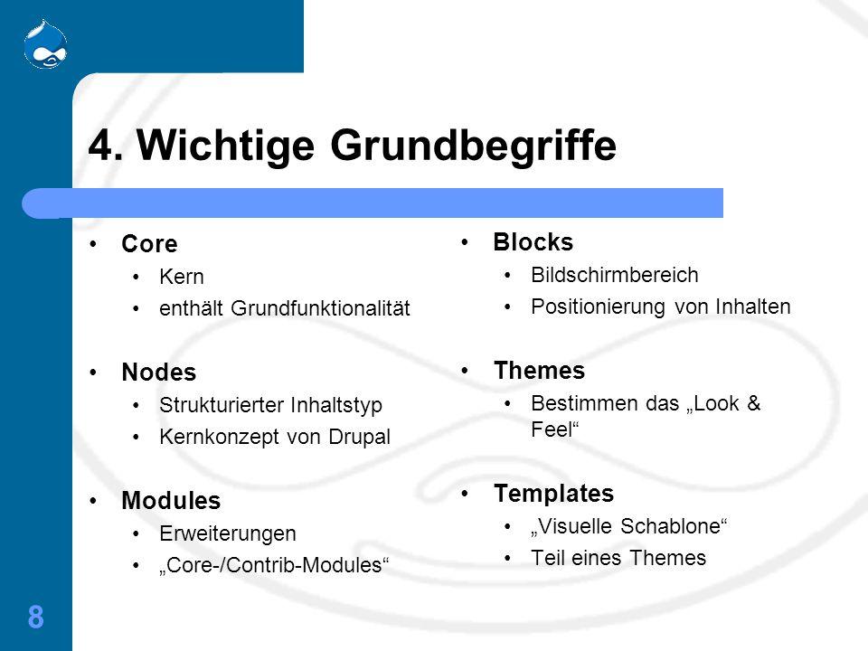 """8 4. Wichtige Grundbegriffe Core Kern enthält Grundfunktionalität Nodes Strukturierter Inhaltstyp Kernkonzept von Drupal Modules Erweiterungen """"Core-/"""